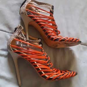 L.A.M.B. Stiletto Caged Heels Shoes Snake 7.5